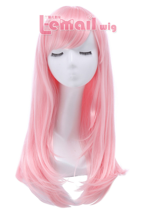 65cm Long Pink Anime Straight Cosplay Party Wig CW143O