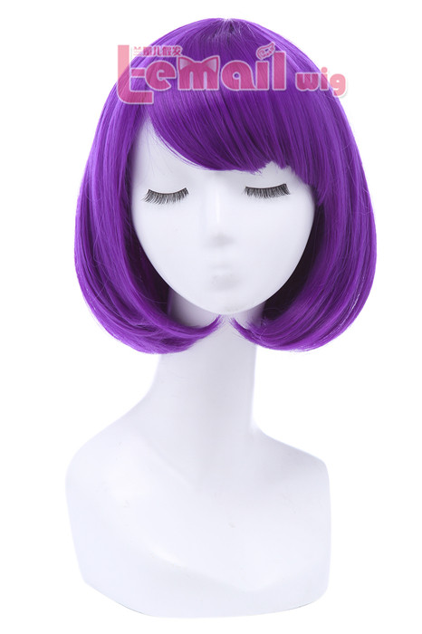 30cm Short Bob Straight Dark Purple Cosplay Wigs CB47H
