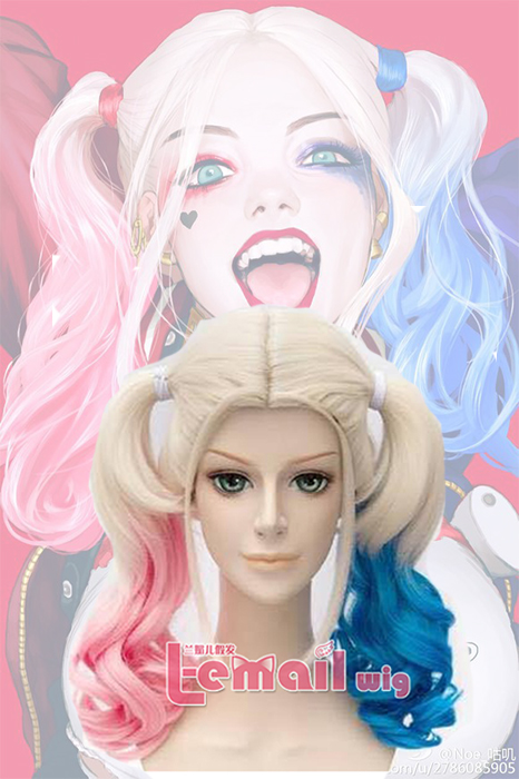 Harley Quinn Suicide Squad Medium Long Wavy Cosplay Wigs ZY184