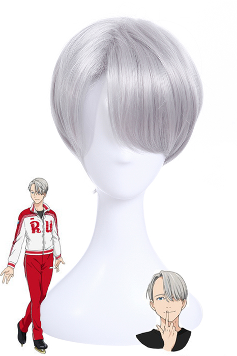 Yuri!!! on Ice Victor Nikiforov Silver Short Cosplay Wigs ml242