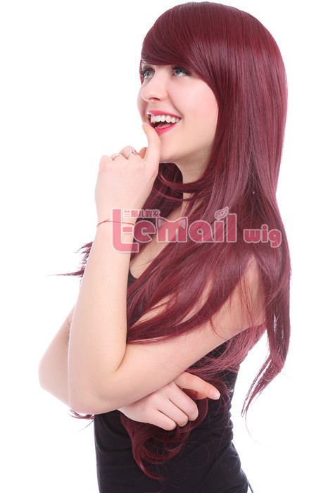 80cm Beautiful wine Red Long Curly Charms Fashion hair Wig