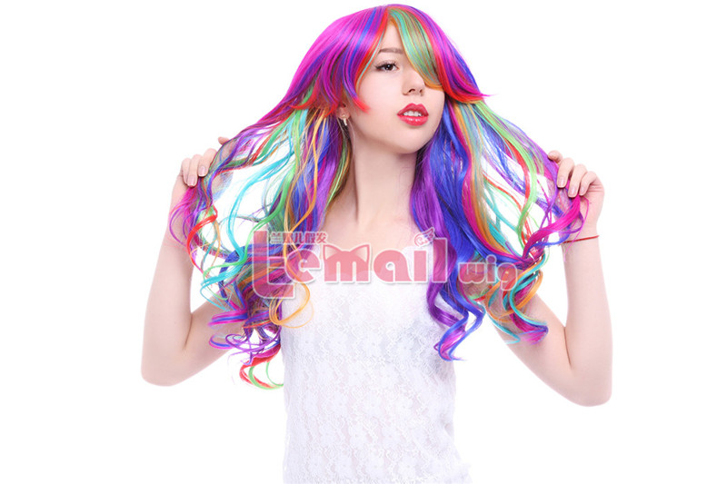 70cm Long Rainbow Rock Spring Bouquet Cosplay hair Wig C57