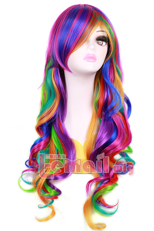 70cm Long Rainbow Rock Spring Bouquet Cosplay hair Wig