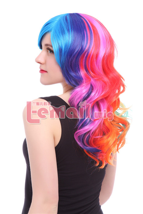 55cm Long Rainbow Wavy Anime Cosplay Wig C71