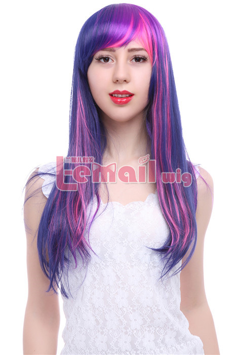 60cm Long Mixed Purple And Pink Straight Cospaly Hair Wig CB28 CB28