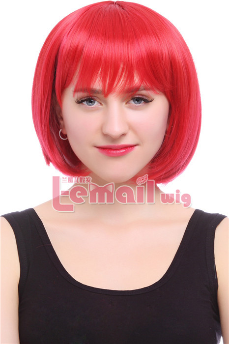 35cm Short Straight Red Bob cosplay party hiar wig CB46E