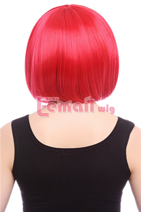 35cm Short Straight Red Bob cosplay party hiar wig