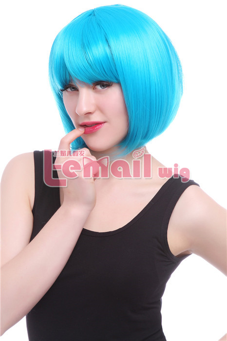 30cm Short Straight Zipper Blue Bob Cosplay hair Wig