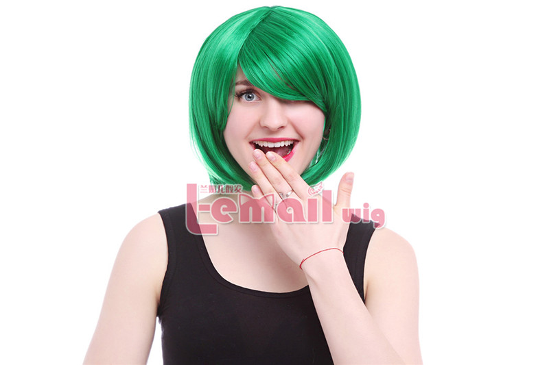 30cm Short Straight Zipper Dark Green Bob Cosplay hair Wig CB46I