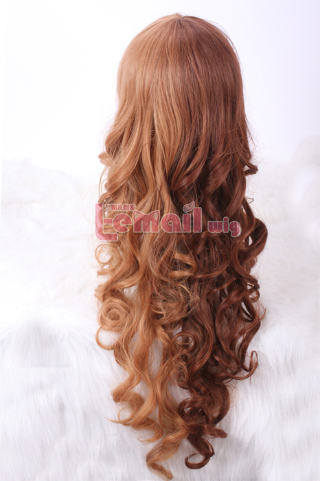 65cm long dark brown light brown split dye wavy cosplay hiar wig