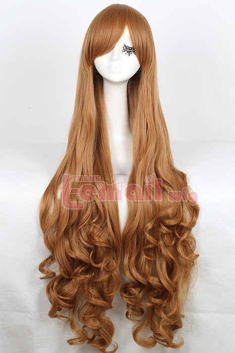 100cm long light brown wavy cosplay wig CB64B
