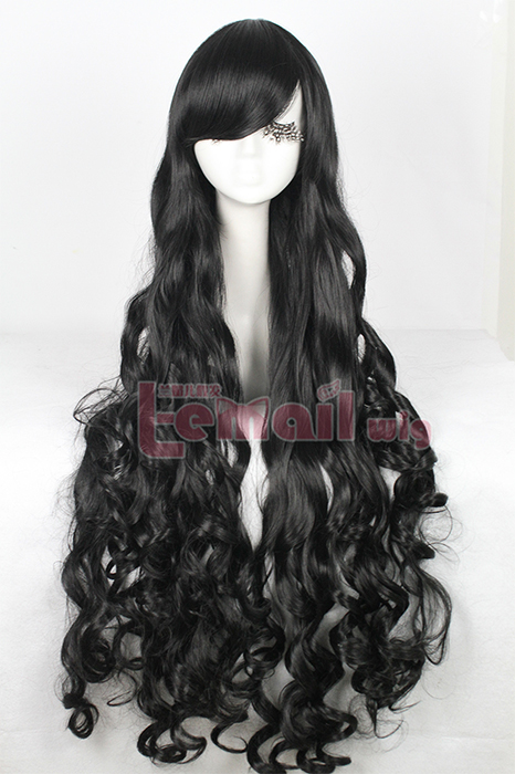 100cm long black wavy cosplay wig CB64A
