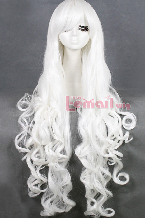 100cm long white body wavy cosplay wig