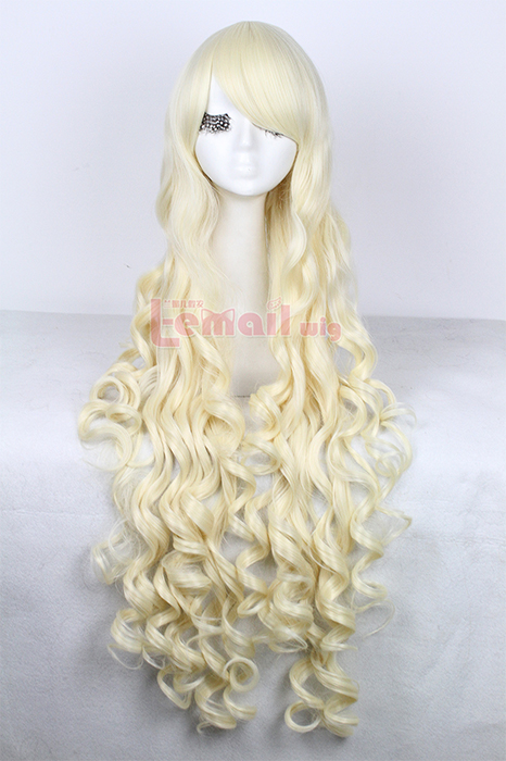 100cm long light brown wavy cosplay wig
