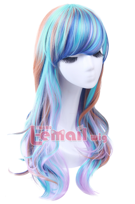 60cm Long Mixed Color Curly Cosplay Wig