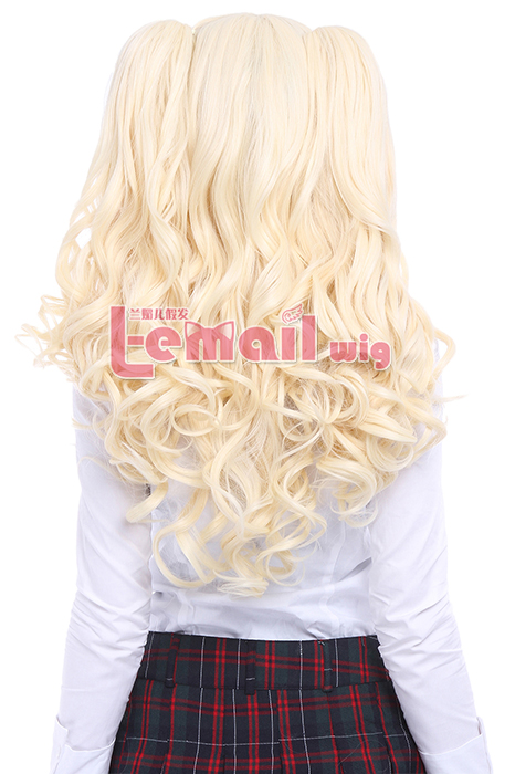 65cm blonde Anime 2 clip on ponytails curly Cosplay hair wig