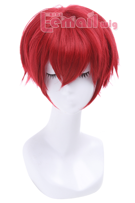 25CM Dark Red Ranma Short Cosplay Wig CW13