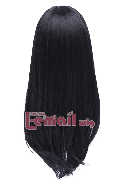 60cm Long Black Anime Straight Cosplay Party Wig CW143Q