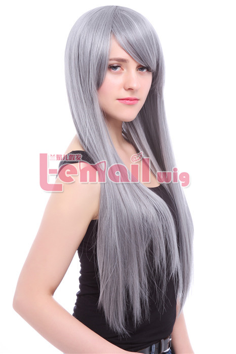Beautiful lady 75cm long silver grey Anime straight cosplay wig