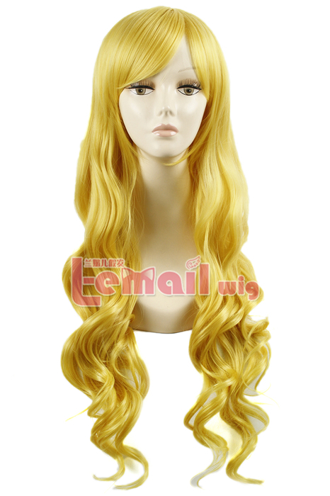 80cm long yellow wavy sweet Cosplay hair wig