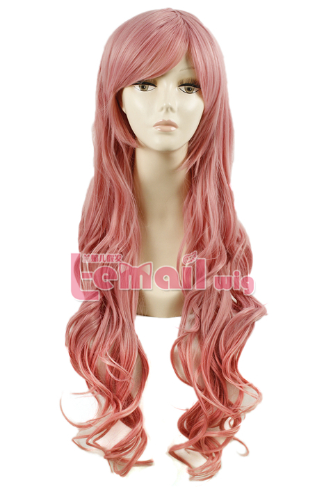 80cm long pink wavy sweet Cosplay hair wig