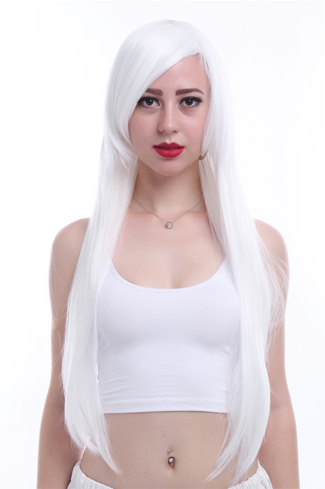 Women Lady white straight 80cm long cosplay hair wig CW280G
