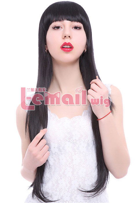 70cm long black Women straight fashion hair wig