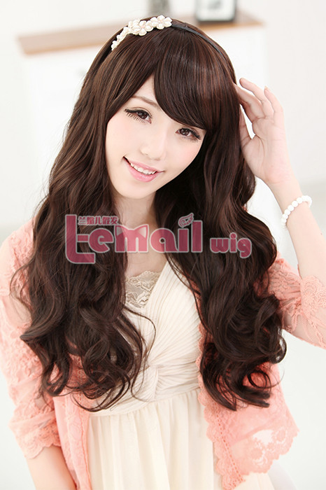 60cm long dark brown charm sweet curly wavy fashion hair wig FL05B