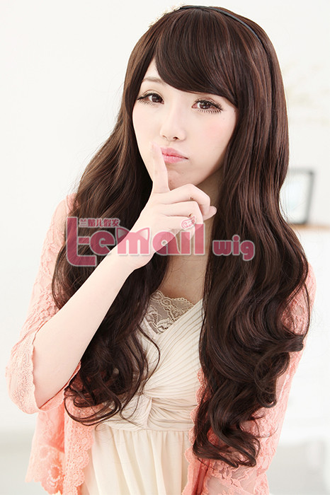 60cm long dark brown charm sweet curly wavy fashion hair wig