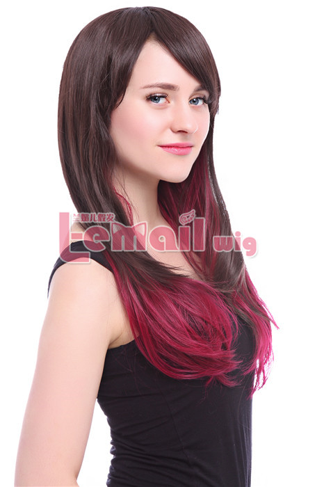 60cm long Chotolate&Burgundy straight fashion hair wig