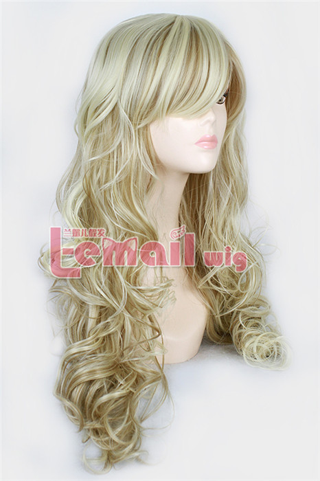 70cm Long Mix Blonde&Light brown Curly Woman Fashion hair Wig