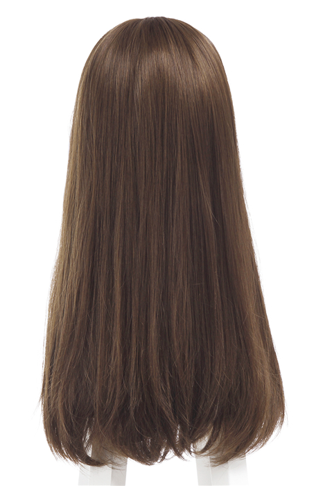 Woman Brown Hair With Full Bangs Long Straight Fashion Wigs
