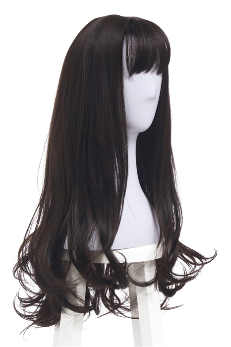 Women Long Curly Wigs Dark Brown Synthetic Hair With Bangs Wigs