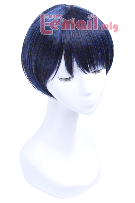 30cm Black Blue Close To Face Short Fashion Wig JF-0327-BKM