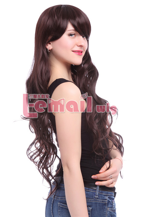 70cm long dark brown Women wave fashion hair wig