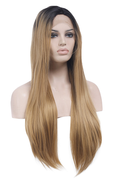 Straight Front Lace Black Brown Long Women Lace Wigs