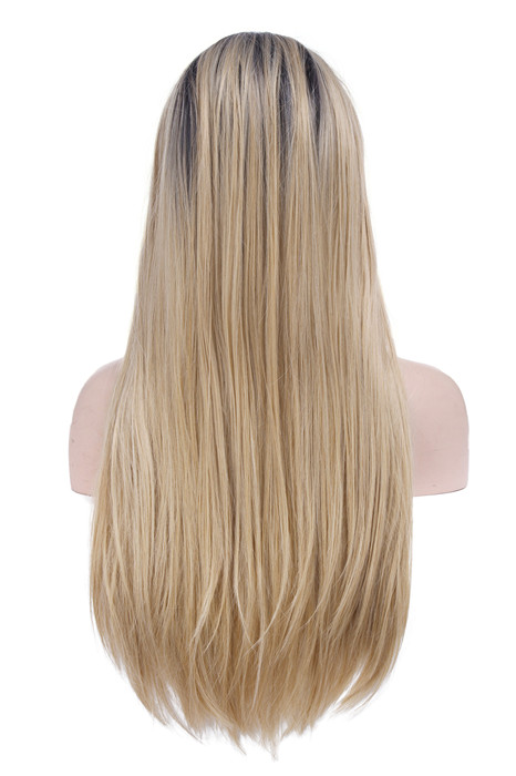 Front Lace Black Root Blonde Straight Fade Long Women Lace Wigs