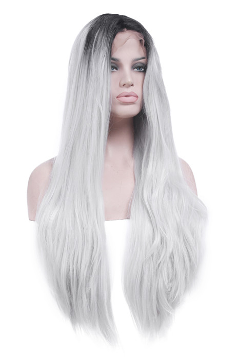 Black Root White Fade Front Lace Long Straight Lace Wigs