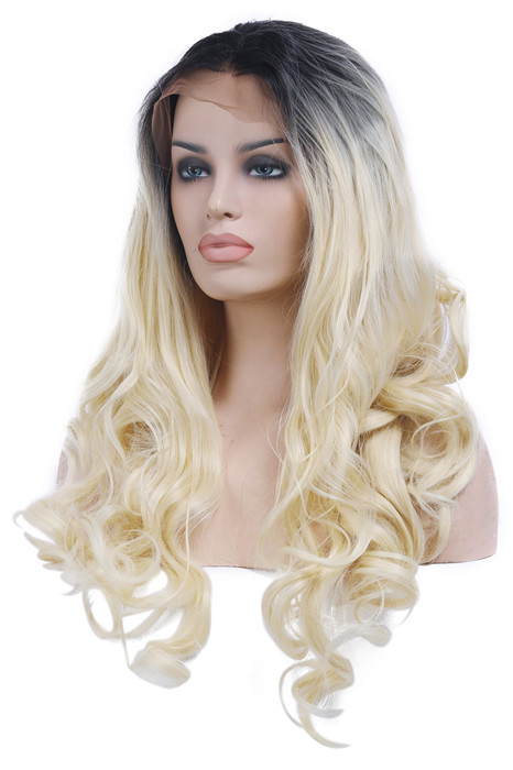60cm Front Lace Black Root Blonde Women Long Lace Wigs