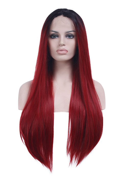 Front Lace Black Root Red Long Straight Synthetic Women Lace Wig