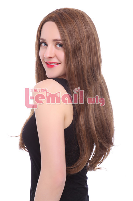 70cm Long straight Brazilian lace front wig mixed color