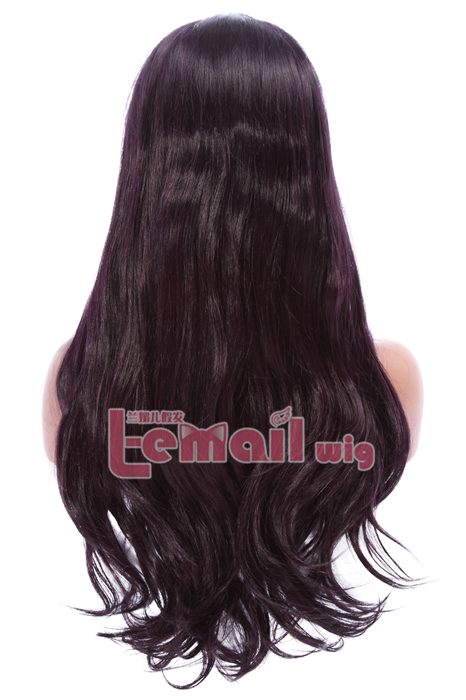 24inch long Straight purple black Women Invisible Part Lace wig