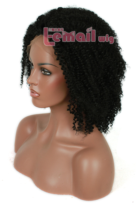 hot sell 14 Inch Women Natural Black curly wave lace front wig