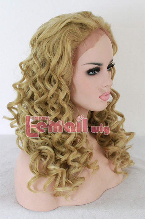 22 Inch women medium Mixed Color Curly Brazilian lace front wig