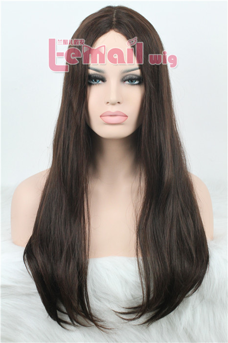 hot sell straight 70cm long brown invisible part carve lace wig