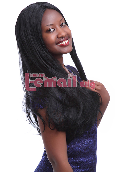 70cm Long black straight invisible part carve lace wig hot sell