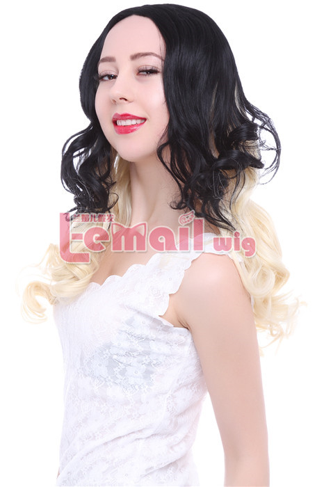 70cm Long Black Fade Blonde Curly Wave Invisible Part Lace wig