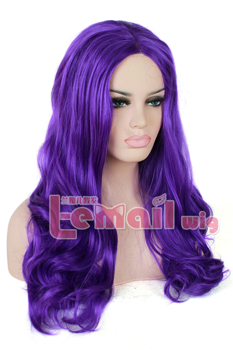 Beautiful Hot Sell 60cm Long Purple Wave Invisible Part Lace wig