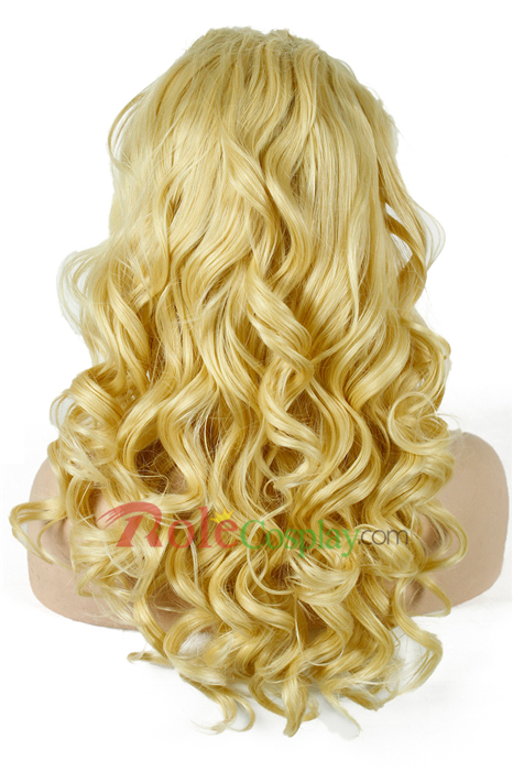 22inch Long Golden Women Wave Curly Lace Front Wig BRAZILIAN