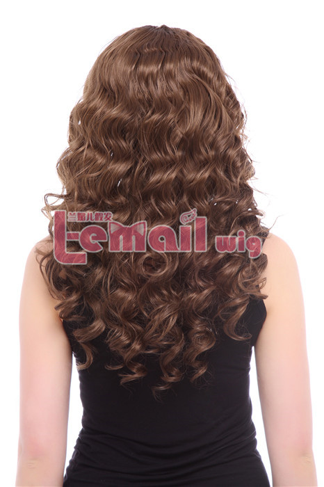 22inch Long Light Brown Women Wave Curly Lace Front Wig hot sell